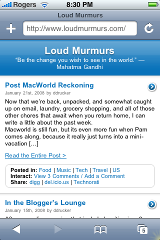 Loud Murmurs as it looks in the iPhone's Browser